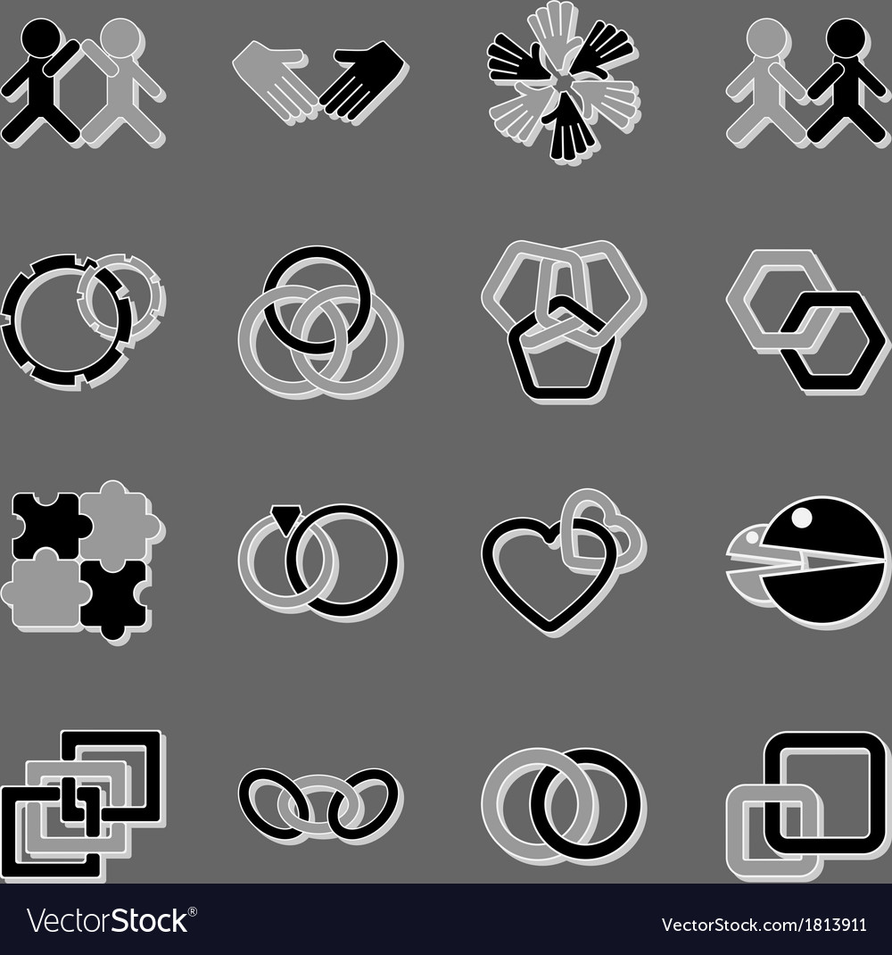 Link and relationship icons with shadow vector | Price: 1 Credit (USD $1)