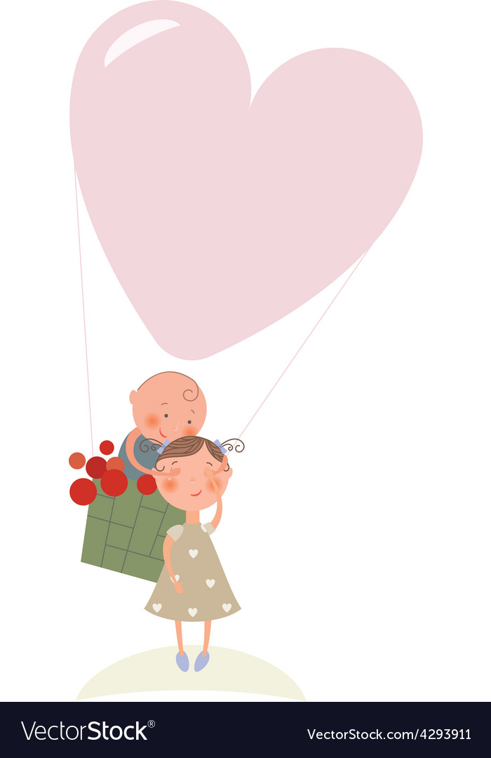 Love in hot air balloon vector | Price: 1 Credit (USD $1)