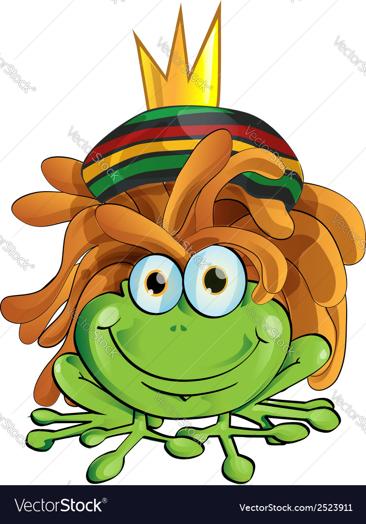 Rasta frog cartoon isolate on white vector | Price: 1 Credit (USD $1)