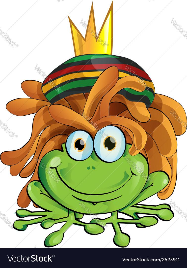 Rasta frog cartoon isolate on white vector | Price: 1 Credit (USD $1)