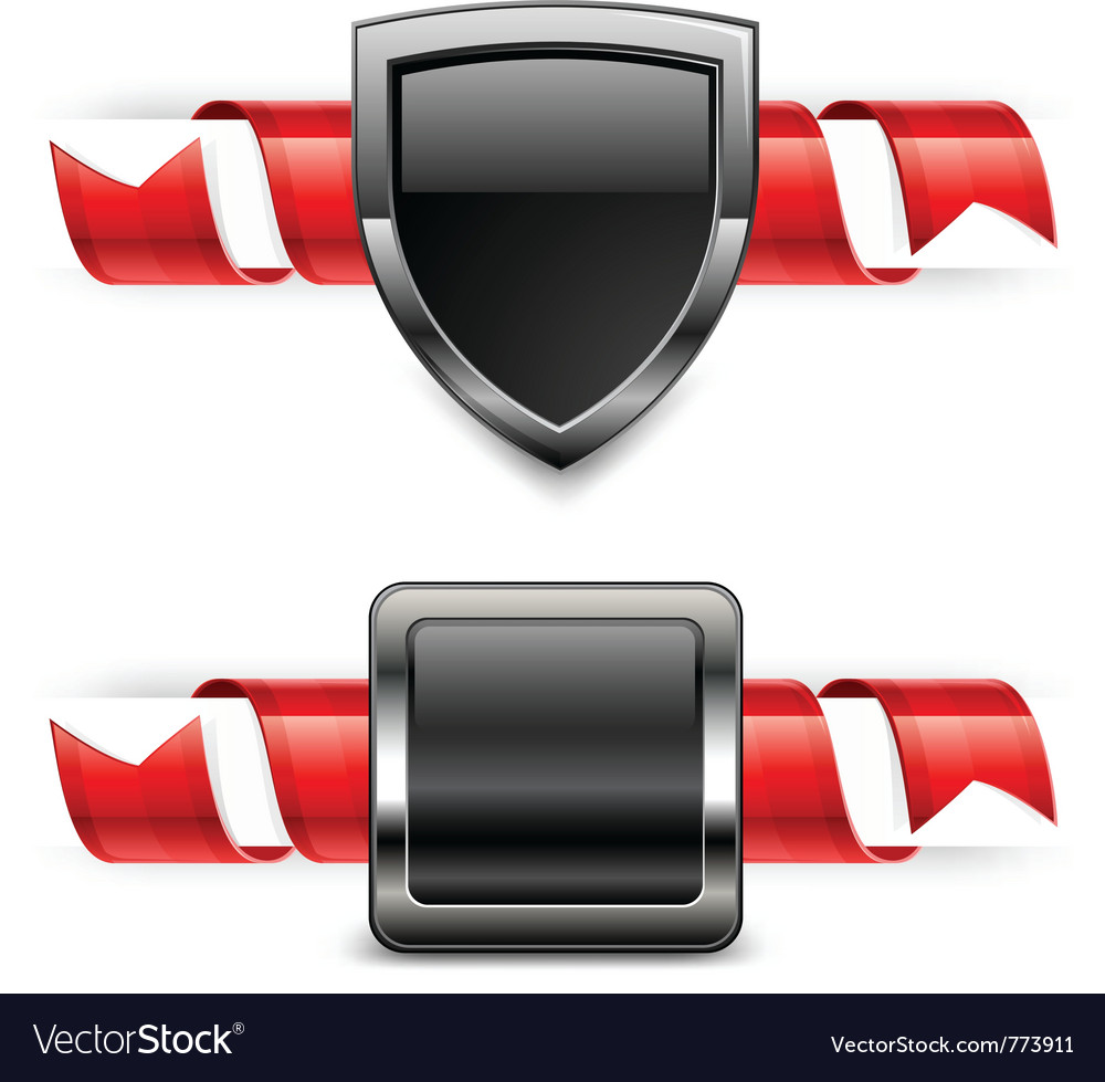 Ribbon shield banner vector | Price: 3 Credit (USD $3)
