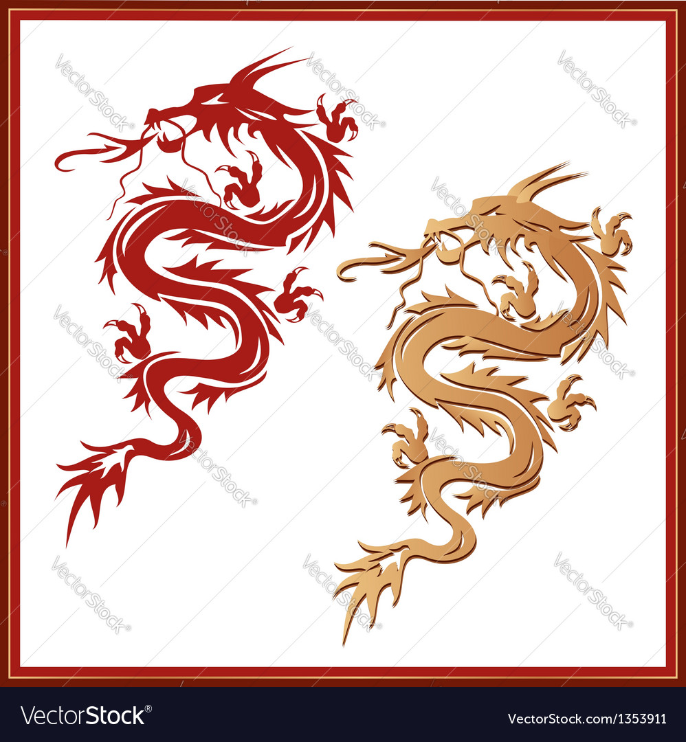 Set of dragons - symbol of oriental culture vector | Price: 1 Credit (USD $1)