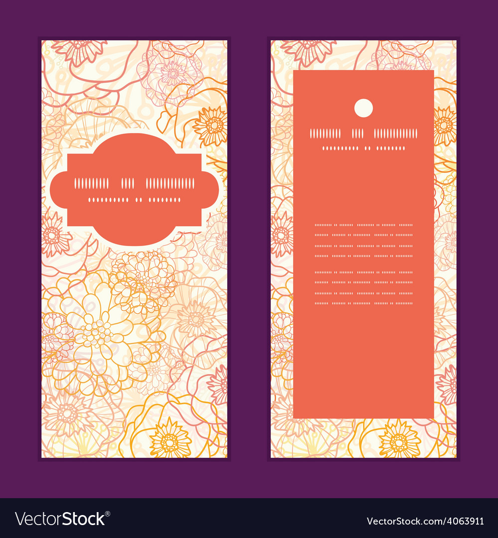 Warm flowers vertical frame pattern vector | Price: 1 Credit (USD $1)