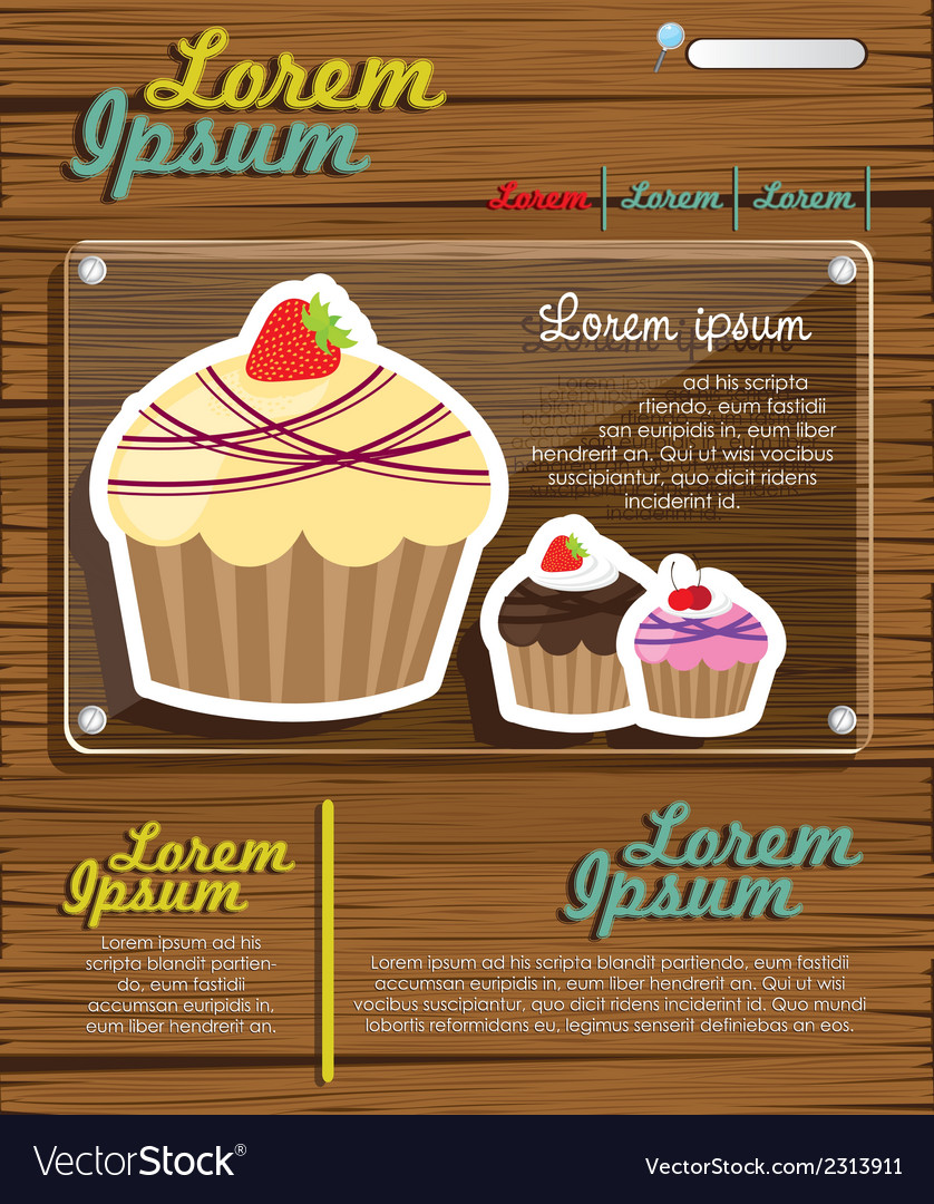 Web site design cupcakes on wood vector | Price: 1 Credit (USD $1)