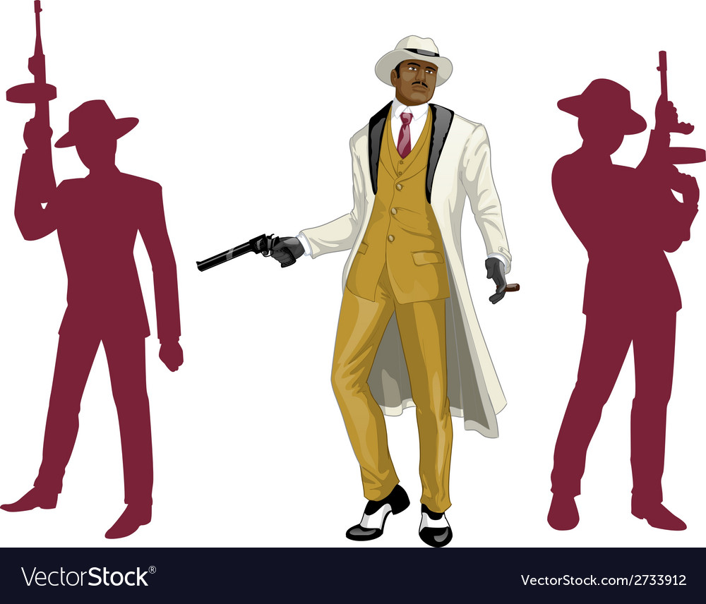 Afroamerican mafioso godfather with crew vector | Price: 1 Credit (USD $1)