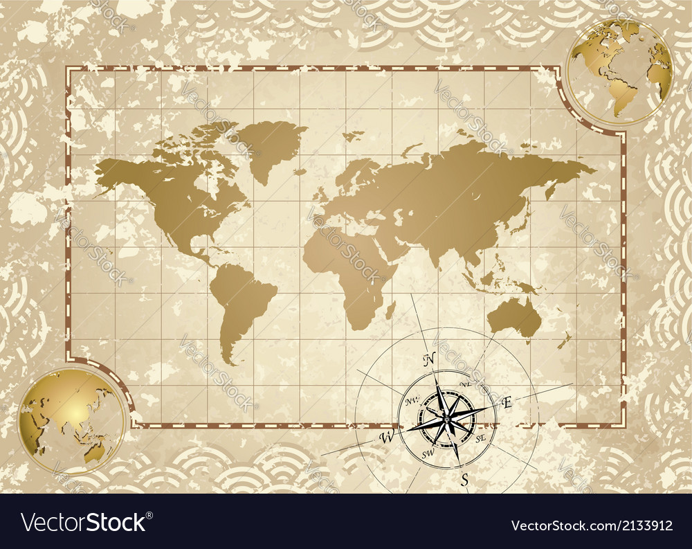 Antique world map vector | Price: 1 Credit (USD $1)