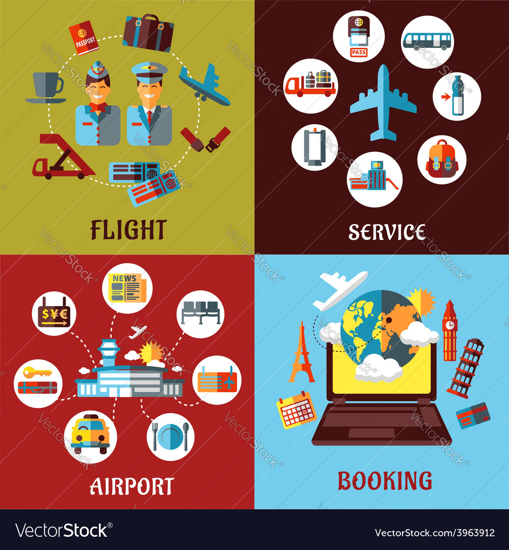 Aviation airport and travel concept flat designs vector | Price: 1 Credit (USD $1)