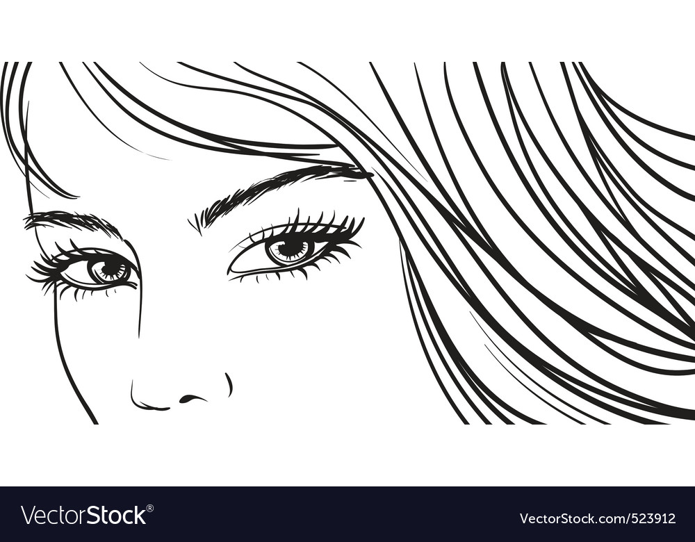 Beautiful girl eyes and light long hair vector | Price: 1 Credit (USD $1)