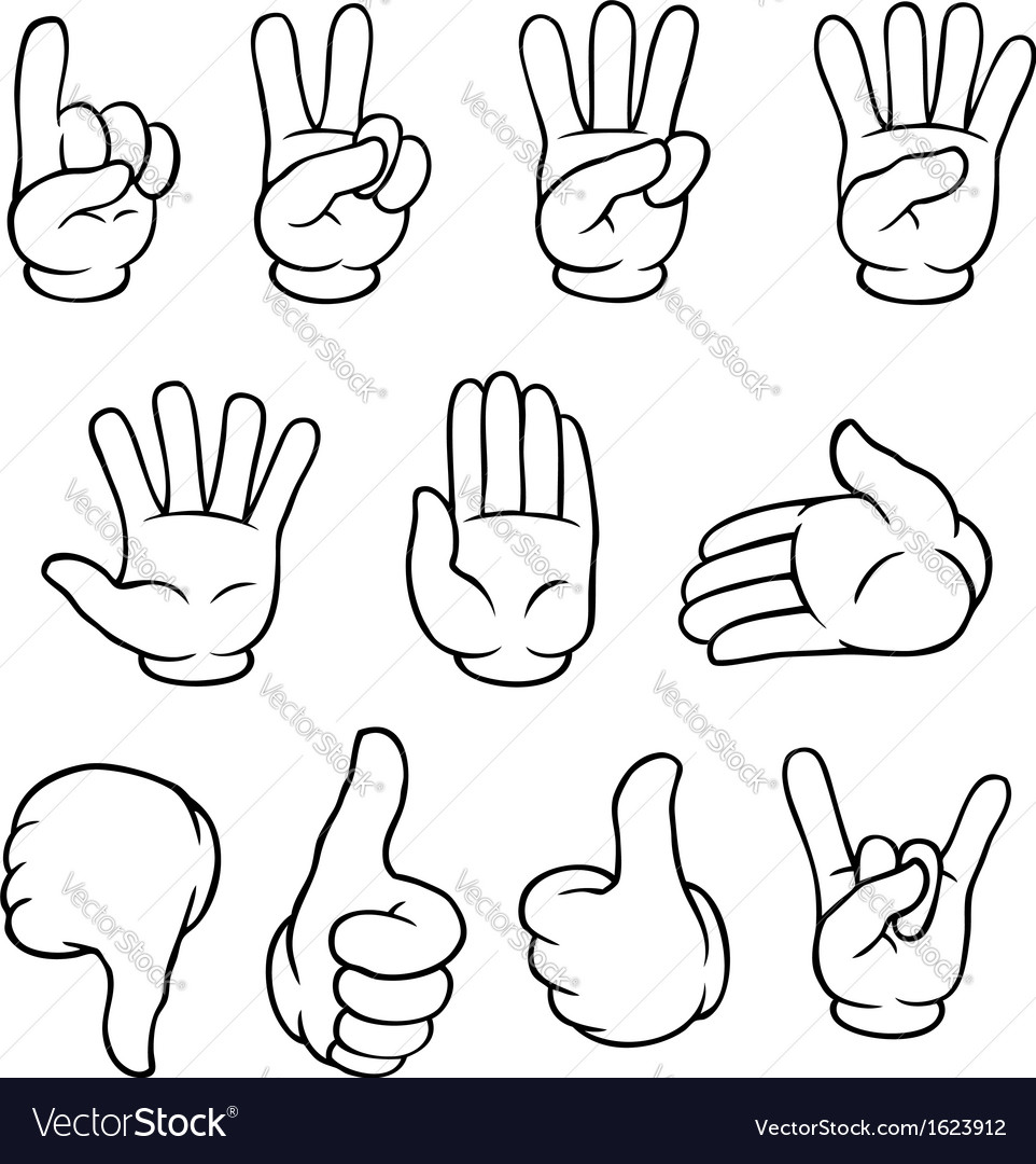 Black and white cartoon hands set vector | Price: 1 Credit (USD $1)