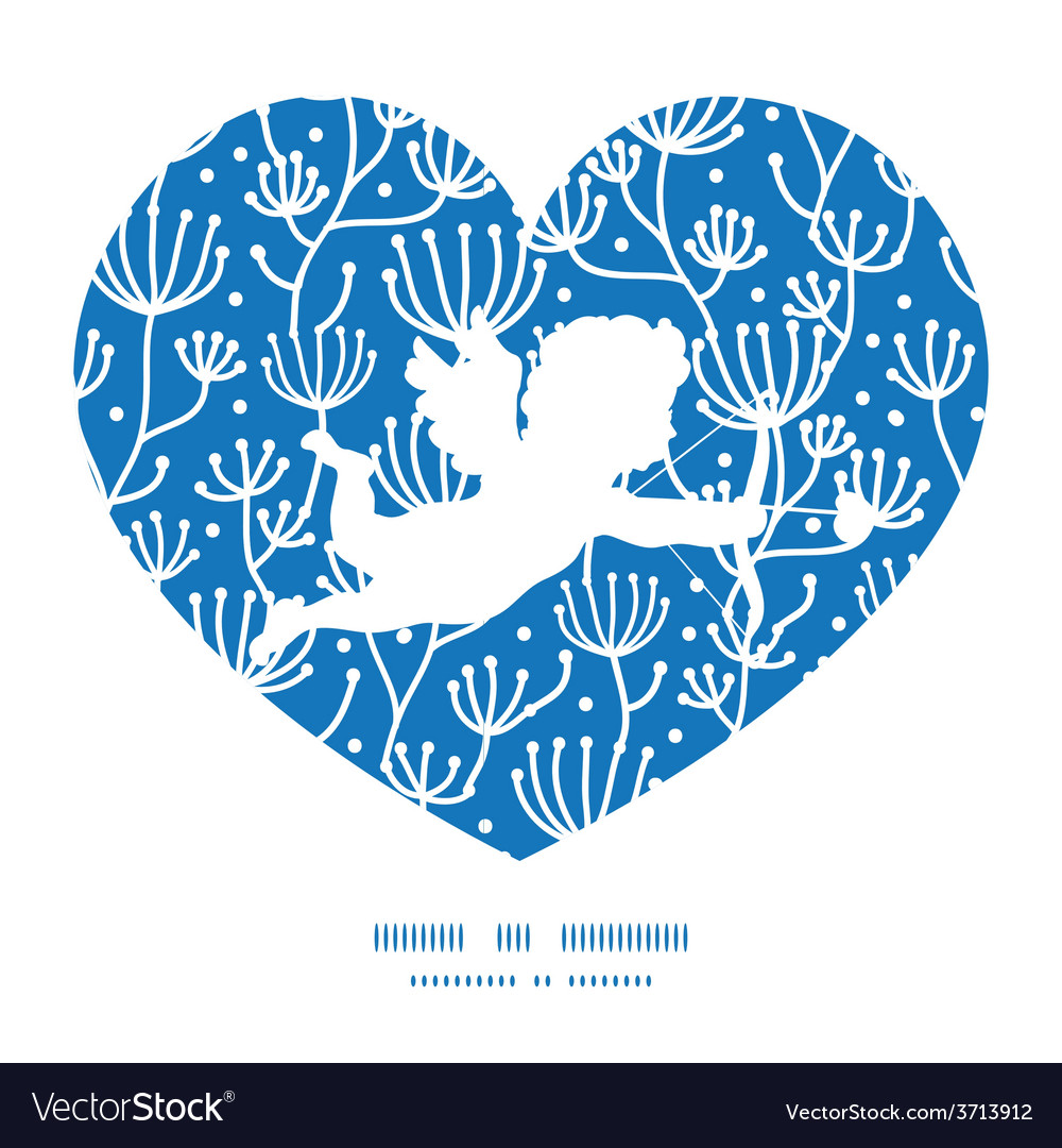 Blue white lineart plants shooting cupid vector | Price: 1 Credit (USD $1)