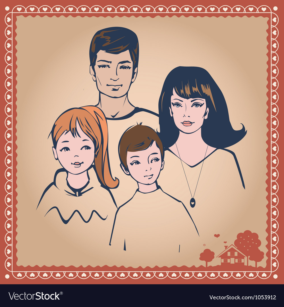 Family post card vector | Price: 1 Credit (USD $1)