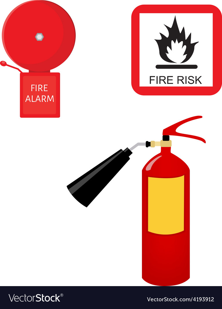 Fire extinguisher alarm bell and fire risk sign vector | Price: 1 Credit (USD $1)