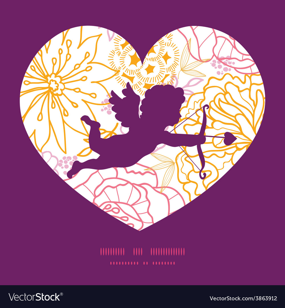 Flowers outlined shooting cupid silhouette vector | Price: 1 Credit (USD $1)