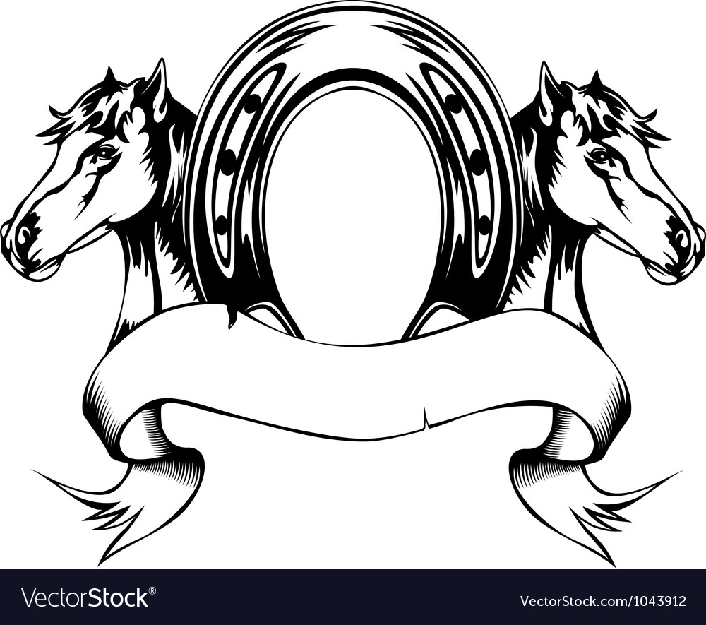 Heads horses and horse shoe vector | Price: 1 Credit (USD $1)