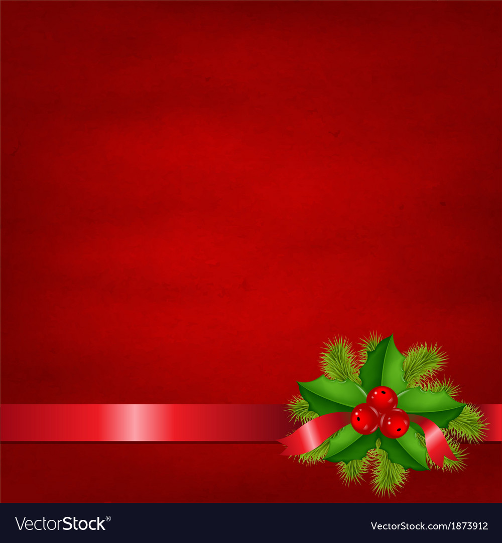 Holly berry with red background vector | Price: 1 Credit (USD $1)
