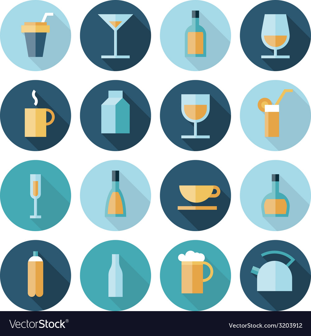 Icons flat line food drinks vector | Price: 1 Credit (USD $1)
