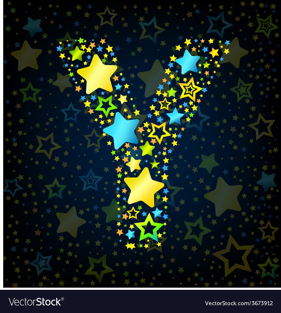 Letter y cartoon star colored vector | Price: 1 Credit (USD $1)