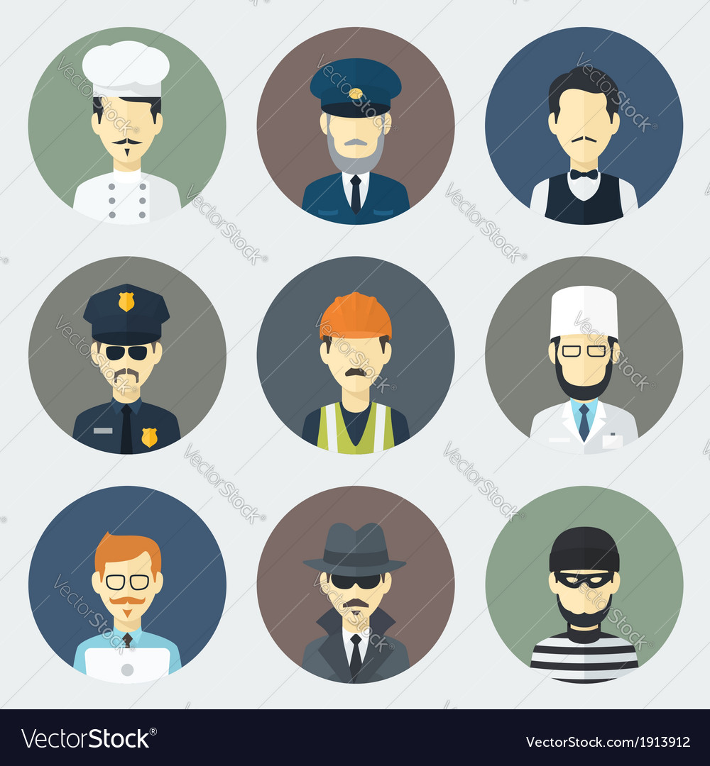 Occupations icons set vector | Price: 1 Credit (USD $1)