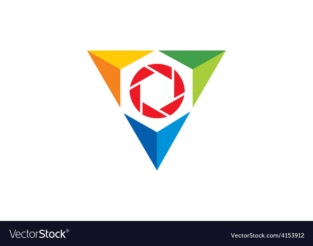 Triangle video lens abstract logo vector | Price: 1 Credit (USD $1)