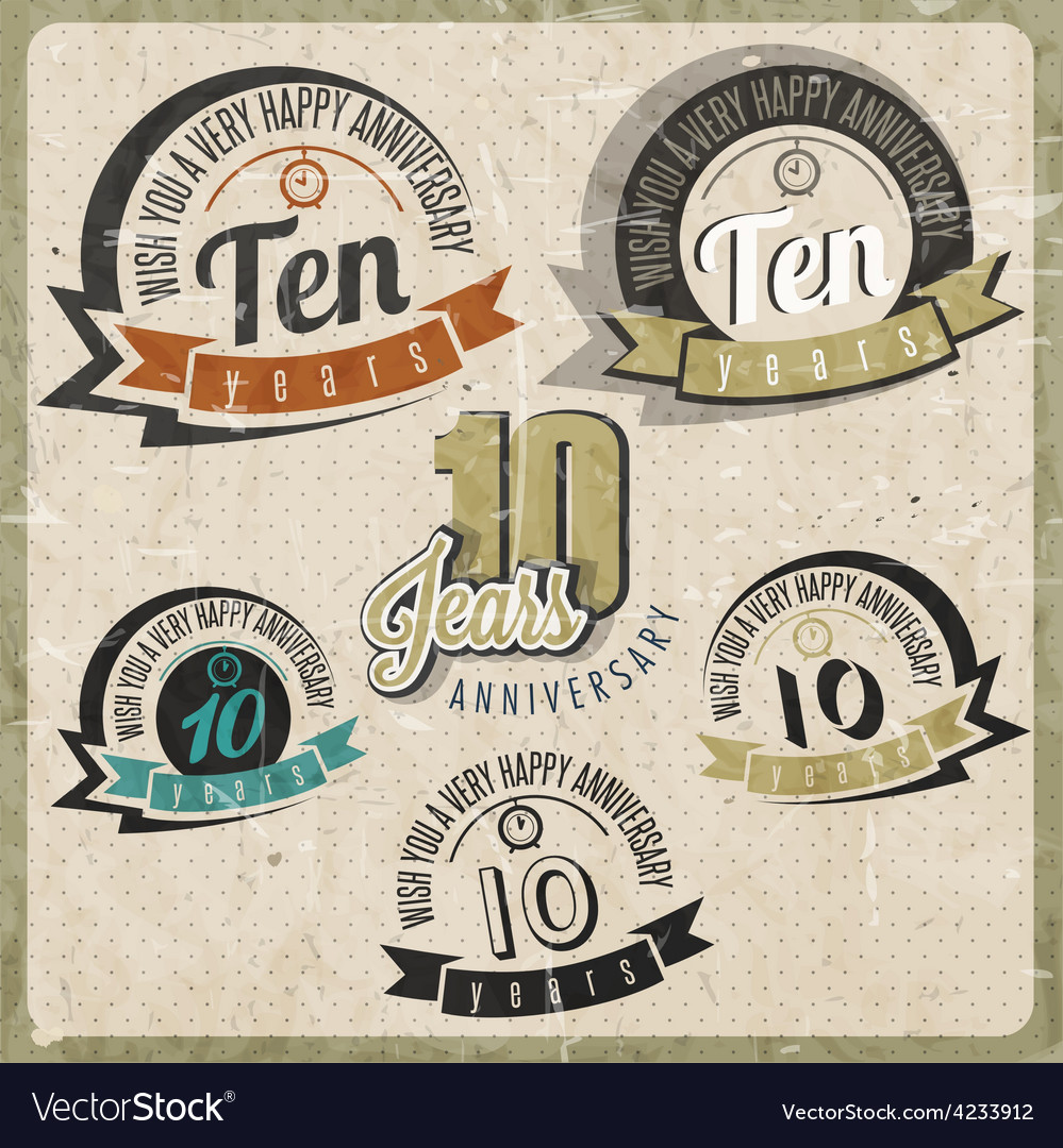 Vintage style 10 anniversary sign collection vector | Price: 1 Credit (USD $1)