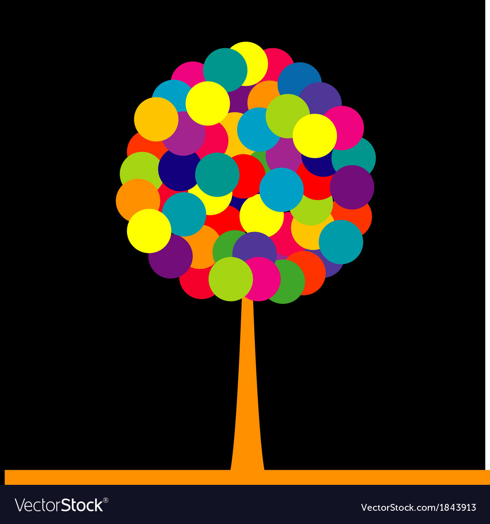 Abstract colored tree over black background vector | Price: 1 Credit (USD $1)