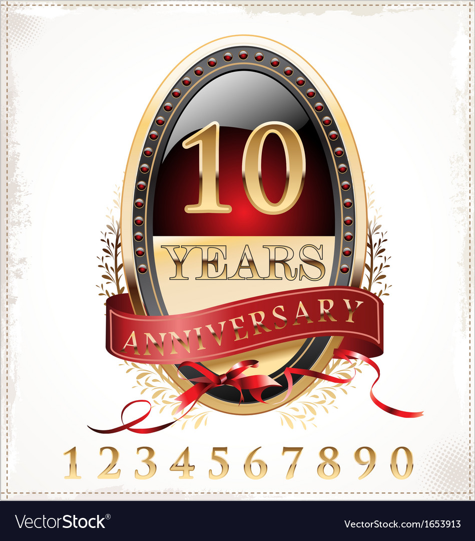 Anniversary red and gold label vector | Price: 1 Credit (USD $1)