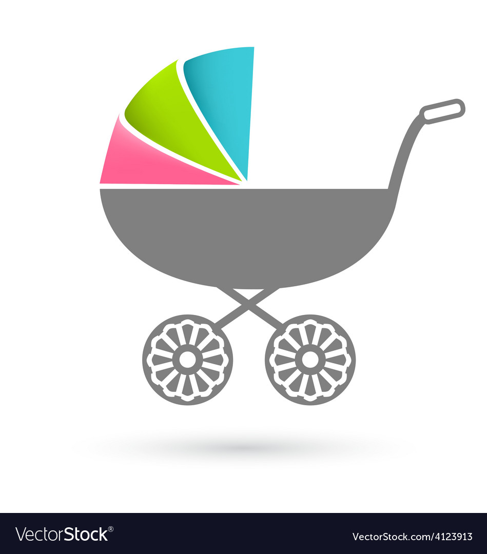 Baby carriage - pram icon isolated on white vector | Price: 1 Credit (USD $1)