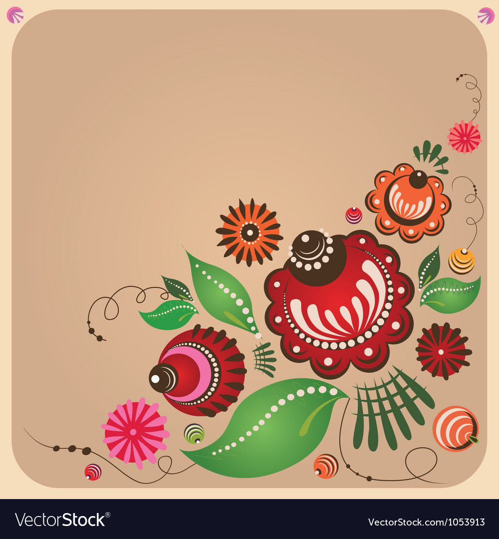 Floral russian style design vector | Price: 1 Credit (USD $1)