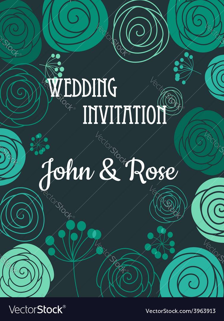 Green floral wedding invitation card vector   Price: 1 Credit (USD $1)