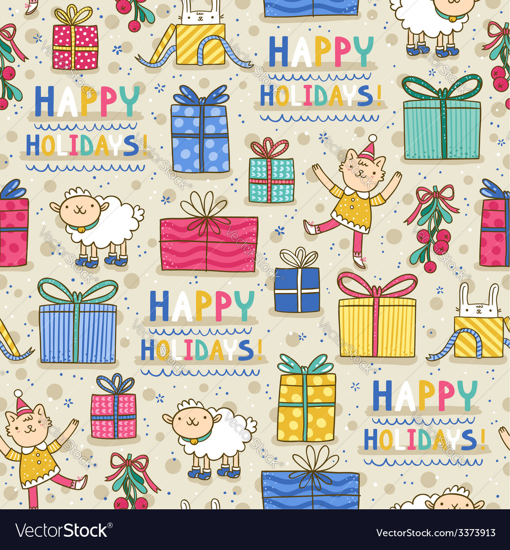 Happy holidays fun seamless pattern on light vector | Price: 1 Credit (USD $1)