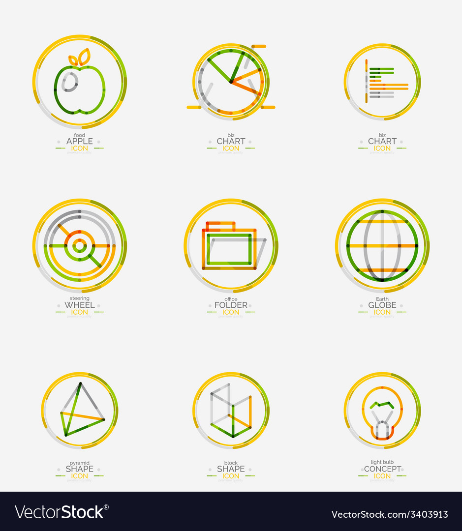 Minimal thin line design web icon set vector | Price: 1 Credit (USD $1)