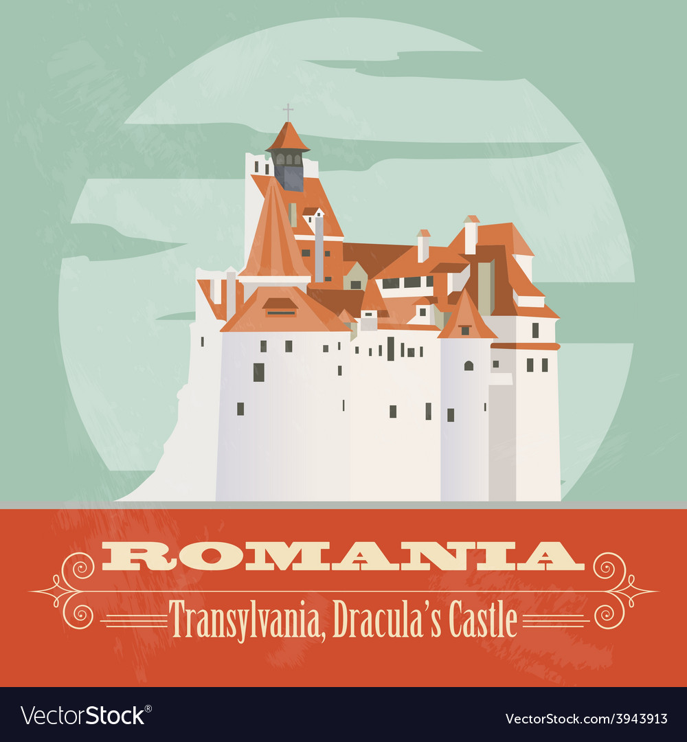 Romania landmarks retro styled image vector | Price: 1 Credit (USD $1)