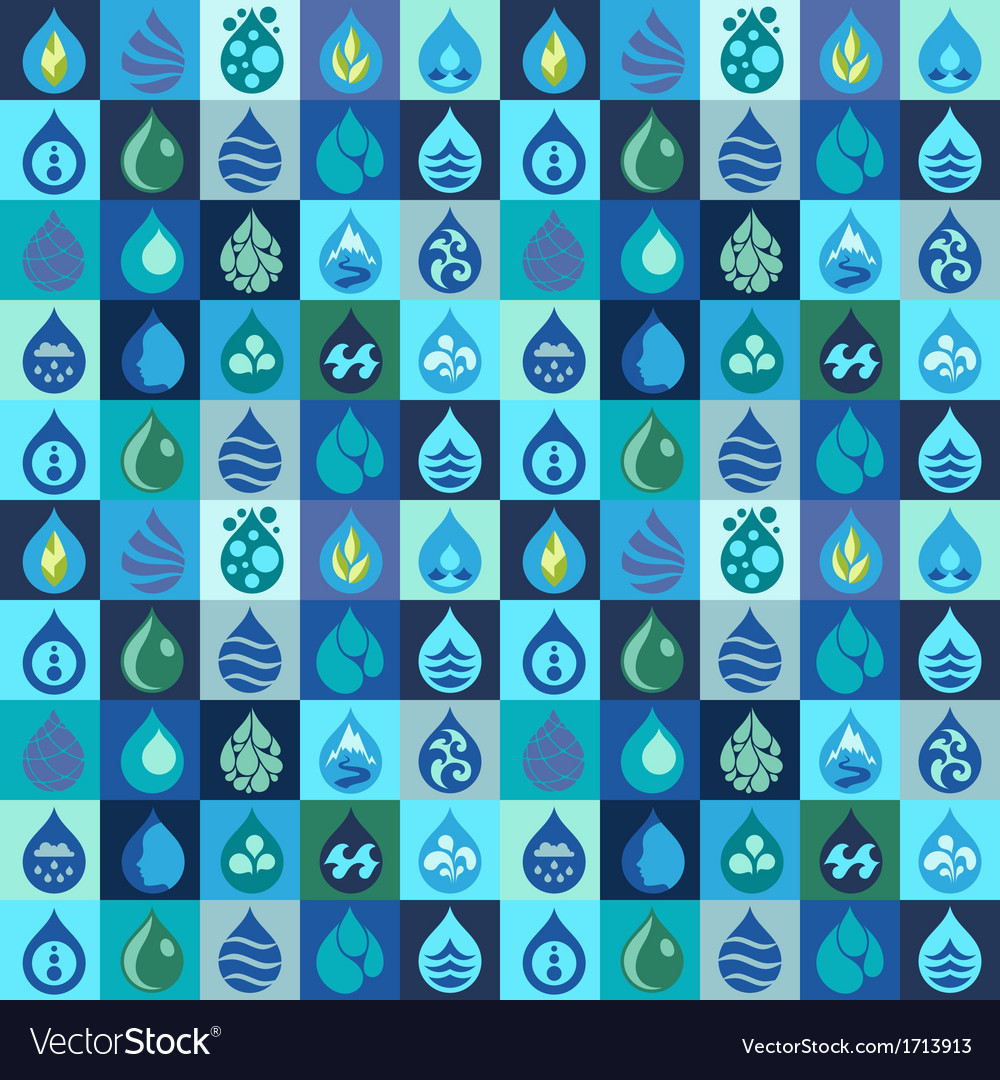 Seamless pattern with water icons in flat design vector | Price: 1 Credit (USD $1)
