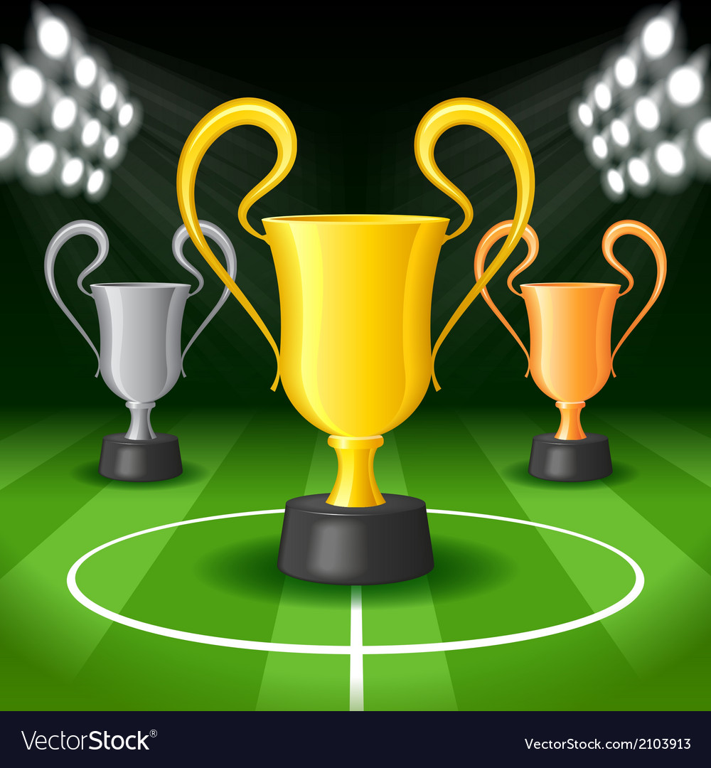 Soccer background with three award trophy vector | Price: 1 Credit (USD $1)