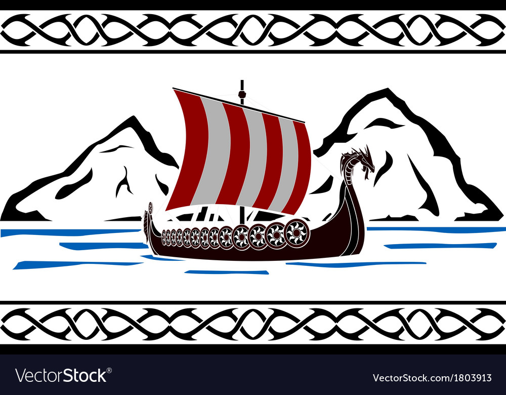 Stencil of viking ship vector | Price: 1 Credit (USD $1)