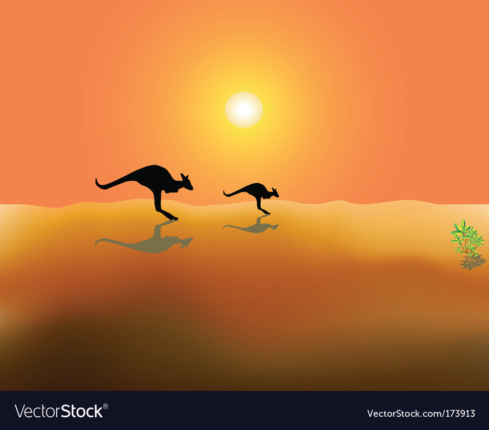 Two running kangaroos vector | Price: 1 Credit (USD $1)