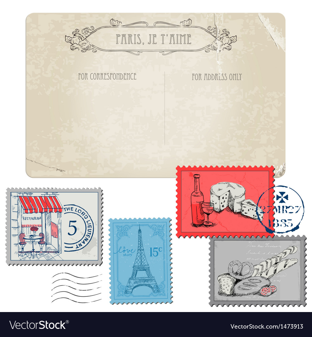 Vintage paris and france vector | Price: 1 Credit (USD $1)