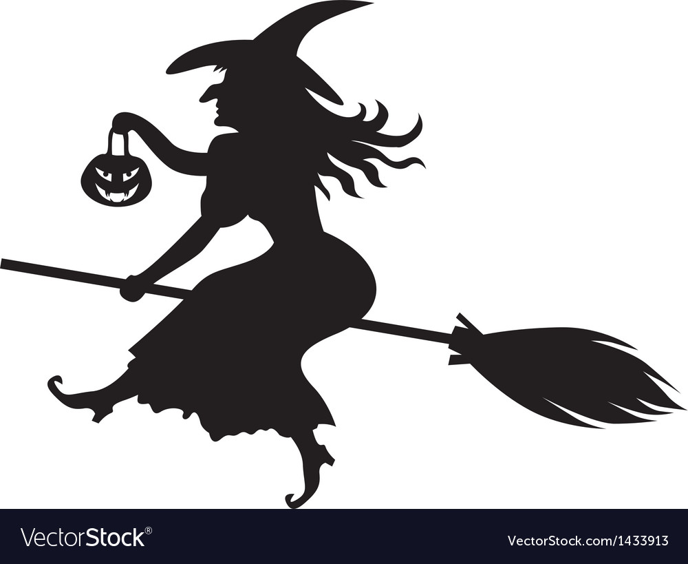 Witch on a broom vector | Price: 1 Credit (USD $1)