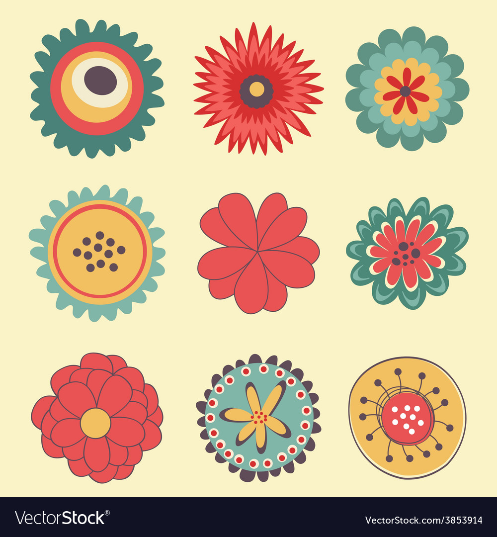Beautiful collection of big flowers vector | Price: 1 Credit (USD $1)