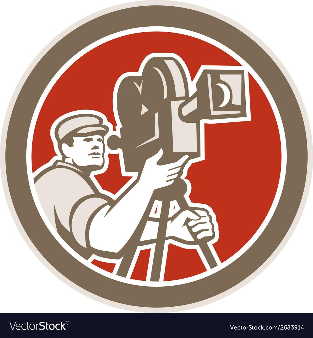 Cameraman vintage movie camera retro vector | Price: 1 Credit (USD $1)