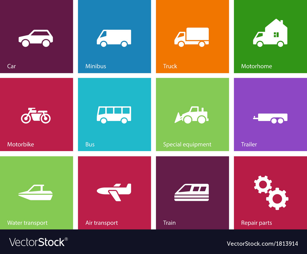 Cars and transport icons on color background vector | Price: 1 Credit (USD $1)