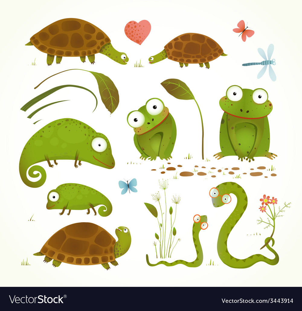 Cartoon green reptile animals childish drawing vector | Price: 1 Credit (USD $1)