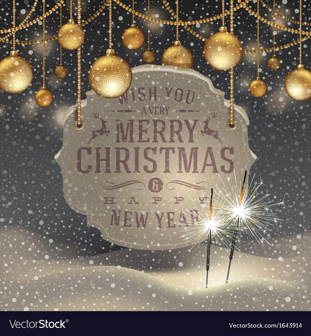Christmas greeting signboard and baubles vector | Price: 1 Credit (USD $1)