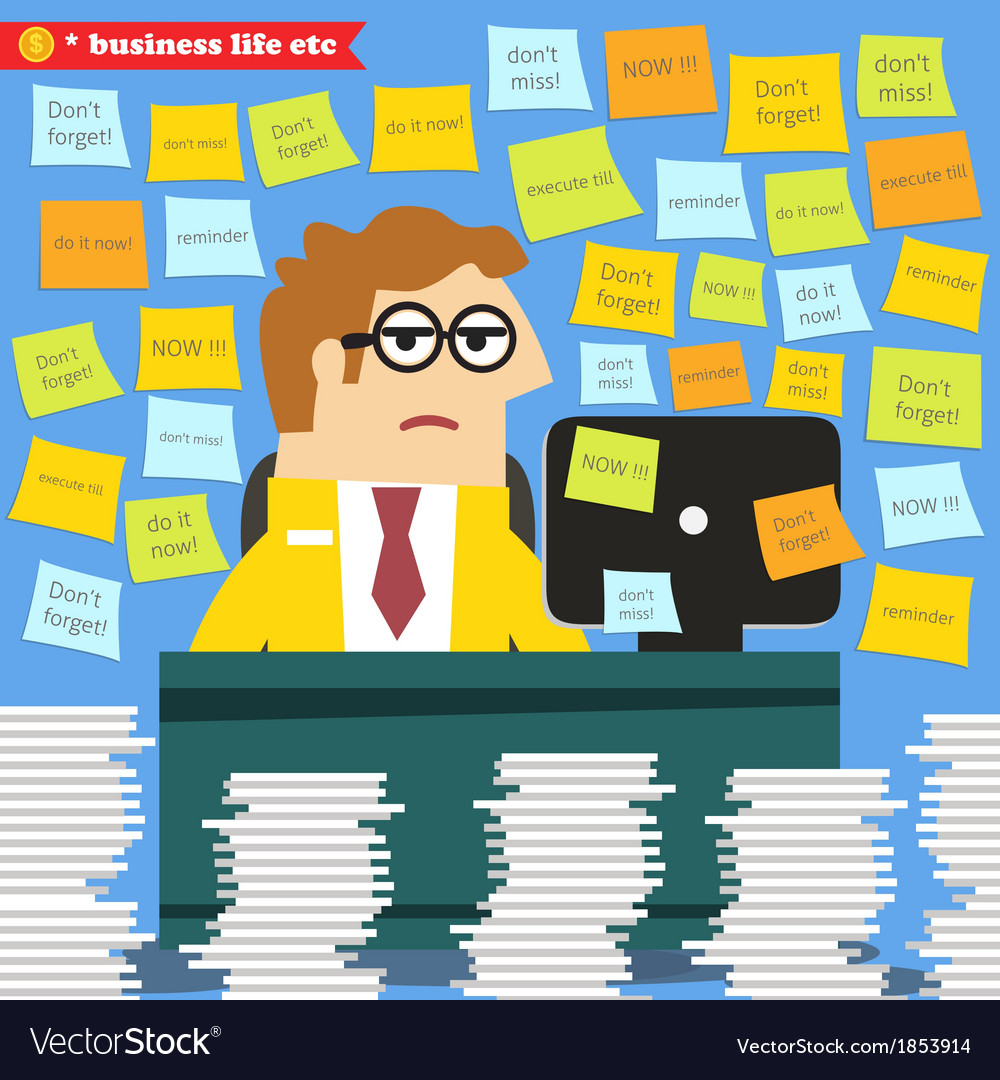 Hard work in progress paperwork piles around vector | Price: 1 Credit (USD $1)