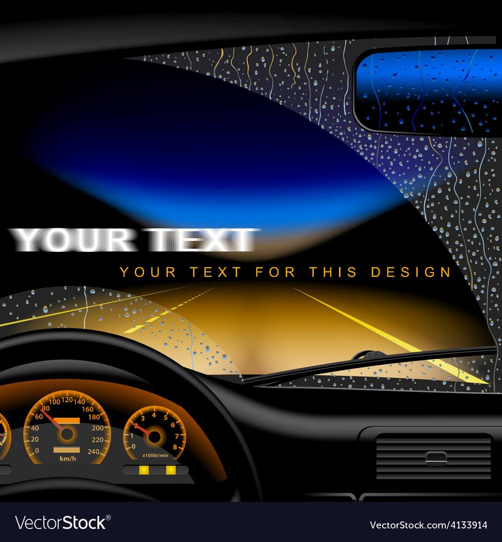 Night road in rain vector | Price: 3 Credit (USD $3)