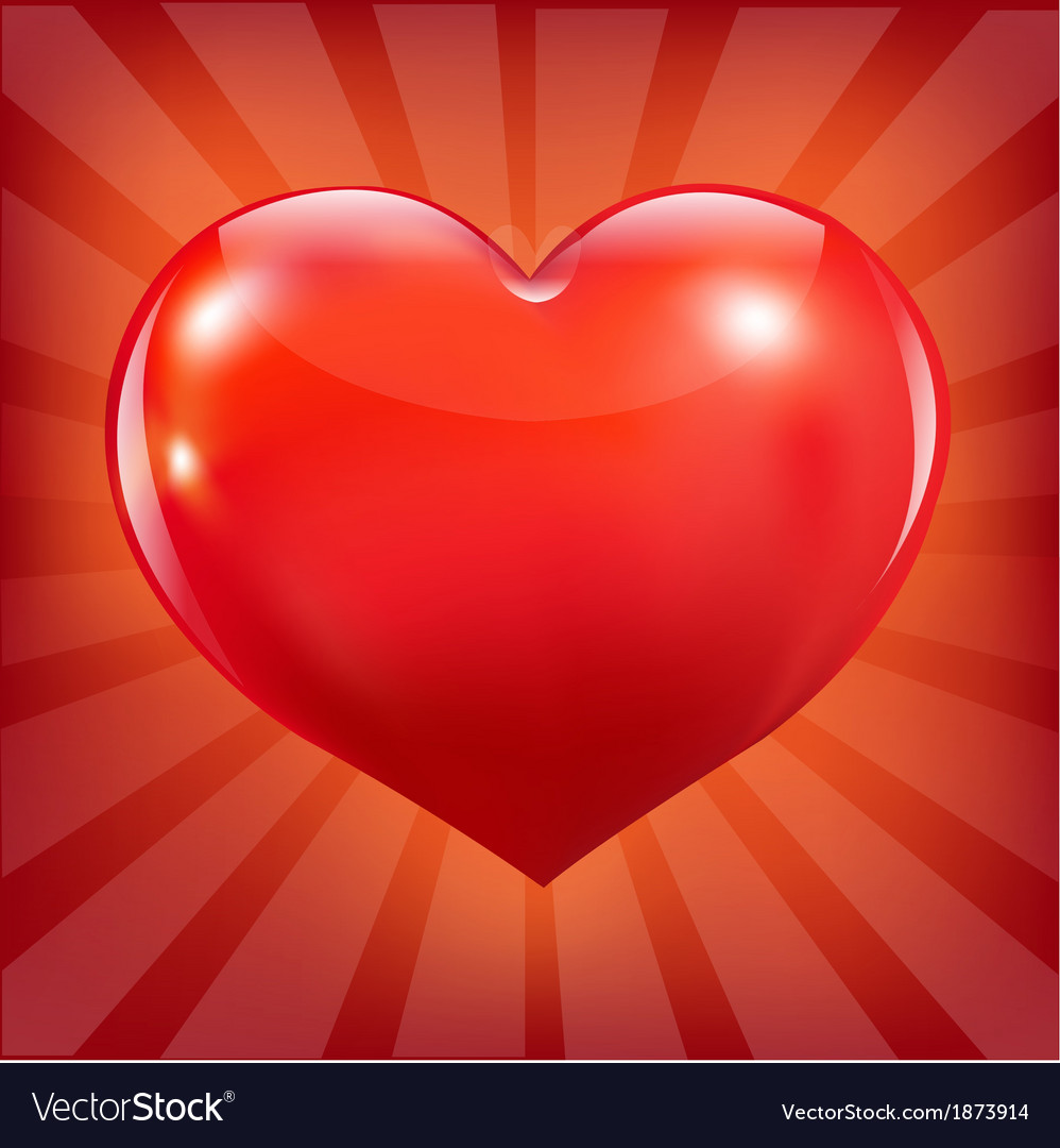 Poster with red heart and sunburst vector | Price: 1 Credit (USD $1)