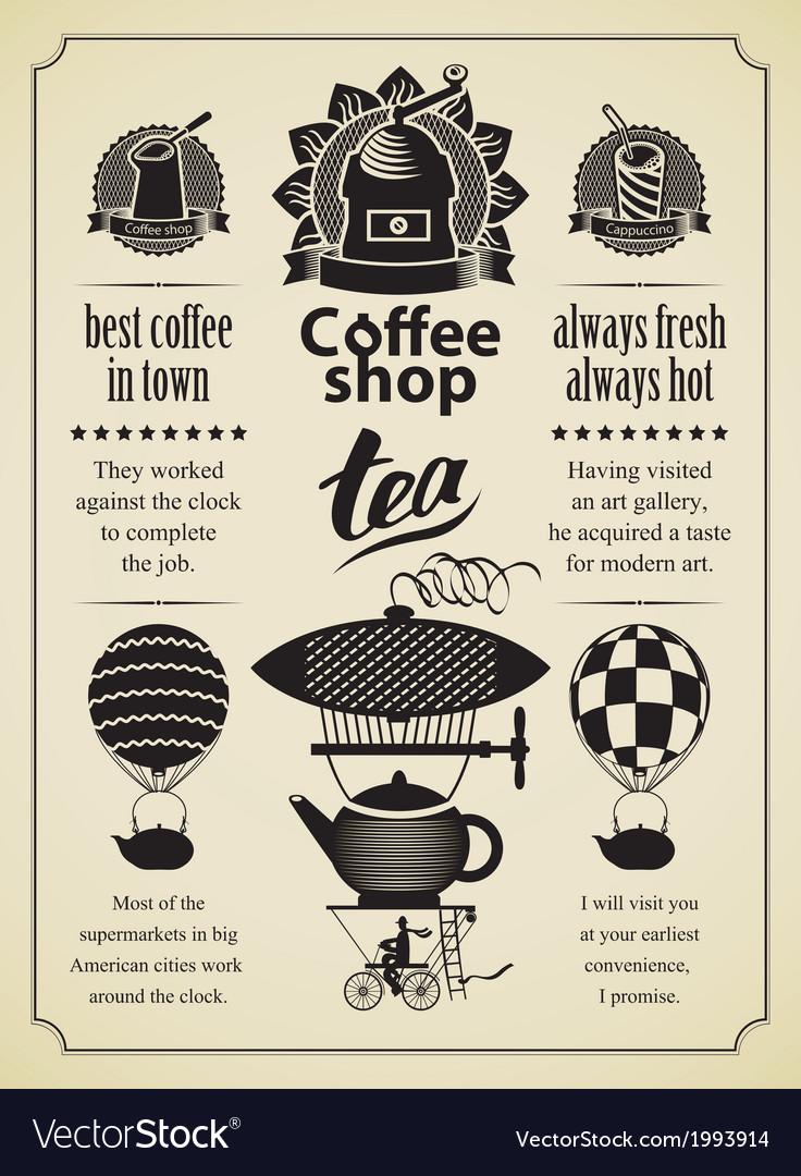 Retro coffee and tea vector | Price: 1 Credit (USD $1)