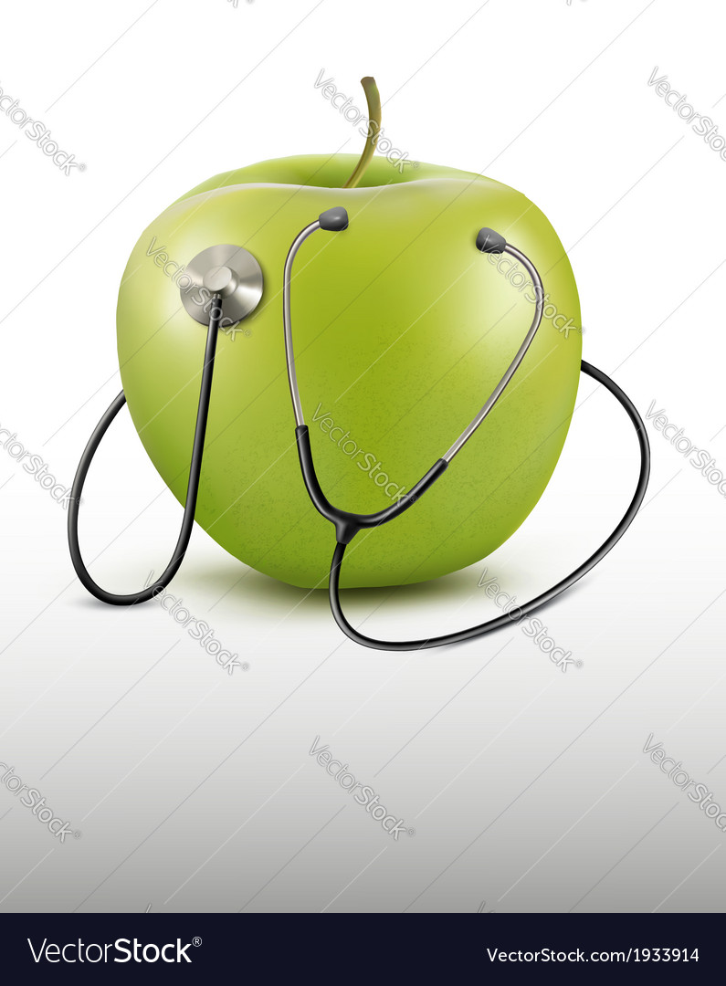 Stethoscope and green apple medical background vector | Price: 1 Credit (USD $1)