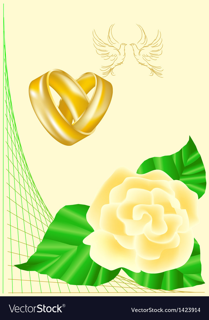 Wedding rings doves and roses vector