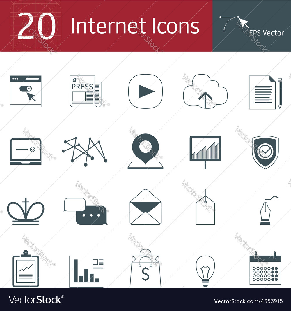 20 icons for the internet vector | Price: 1 Credit (USD $1)